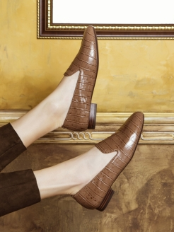 Слиперы BROWN CROCO RABBIT LOAFERS