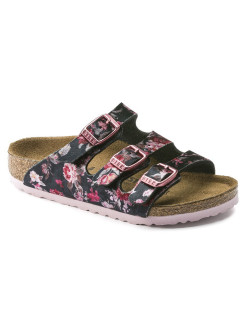 Биркенштоки Florida Kids TEX Velvet Flower Black Narrow BIRKENSTOCK