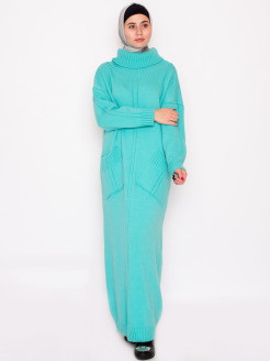 "Knitted dress ""AINA"" with pockets / dress elongated / stand-up collar Yasmin"