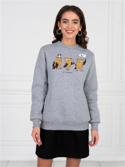 "Sweatshirt ""Owl and Coffee"" with fleece Barmariska"