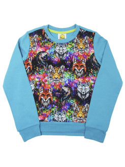 Sweatshirt (sweater) for children for a boy and a girl with a picture of animals VAGR-RG